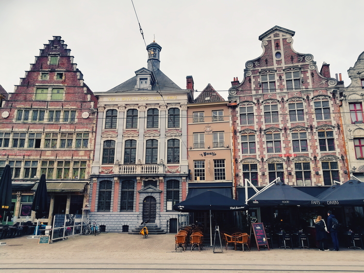 Quirky colourful facades of buildings in the Korenmarkt area.