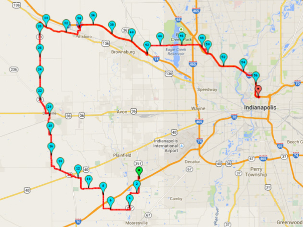 Route for the 2014 Ride to Rescue