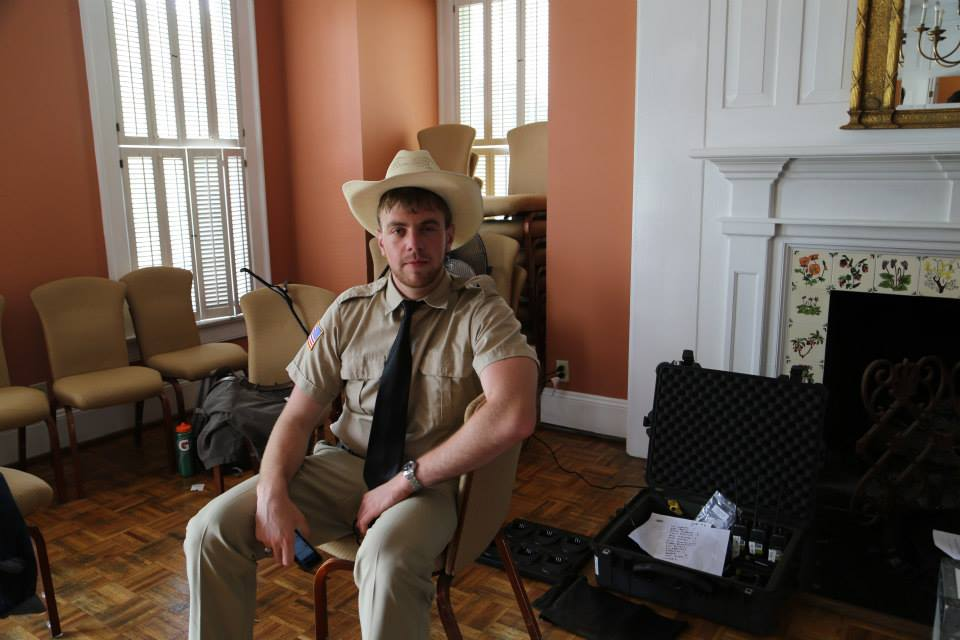 Zac prepares for his acting debut as the tight-lipped Deputy Beasley.