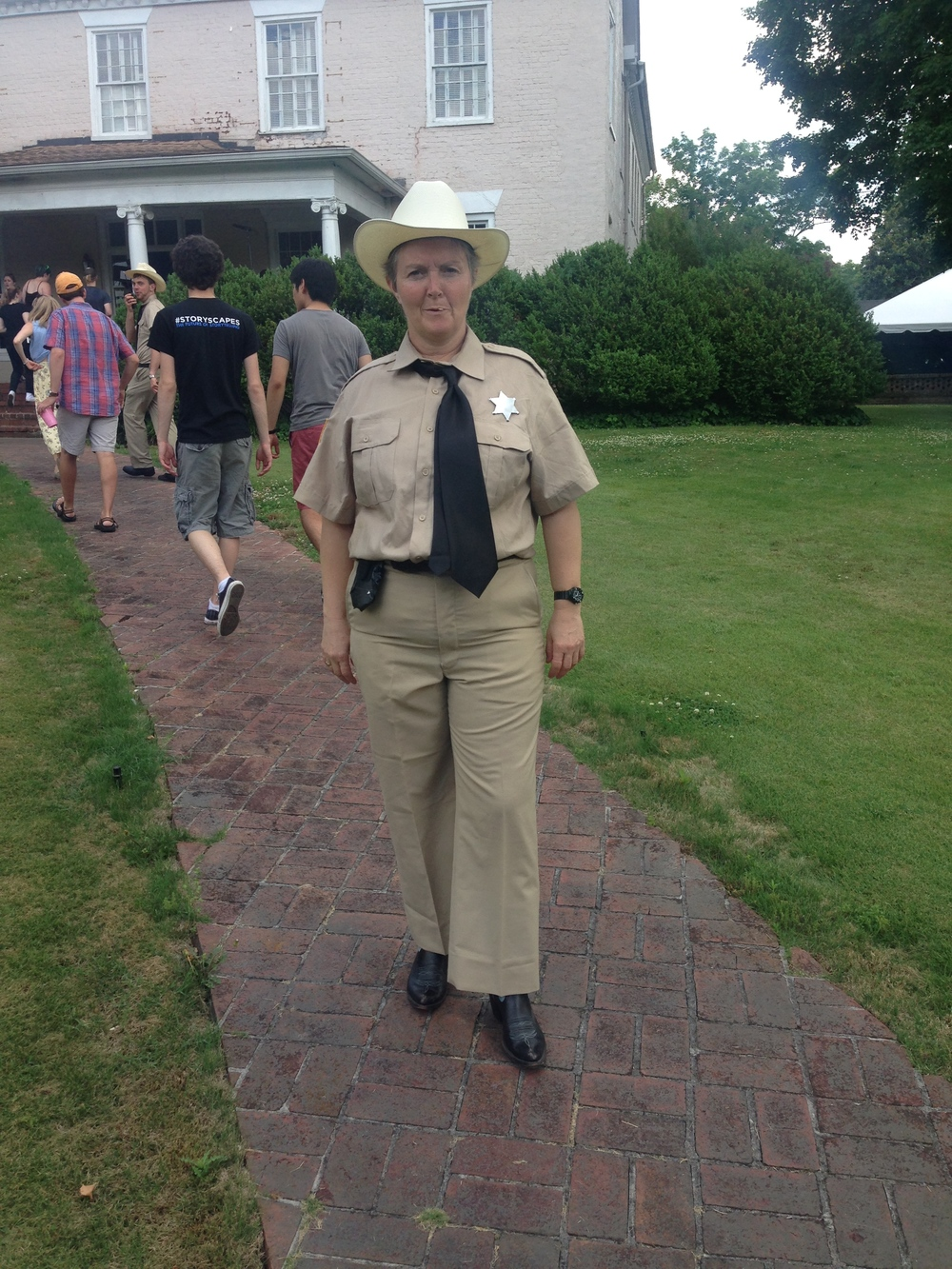 Stephanie strutting her stuff as Sheriff Nancy Nulty.