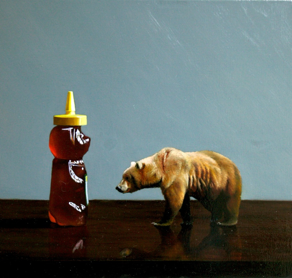 "Honey Bear 12"" x 12"" oil on panel SOLD"