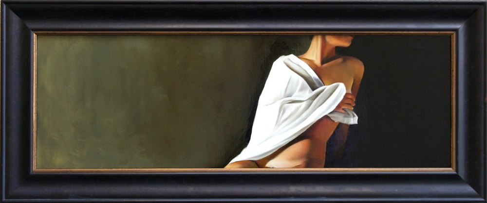 "His Model, Painted (In Profile with the White Cloth)  12"" x 36"" Oil on Linen SOLD"