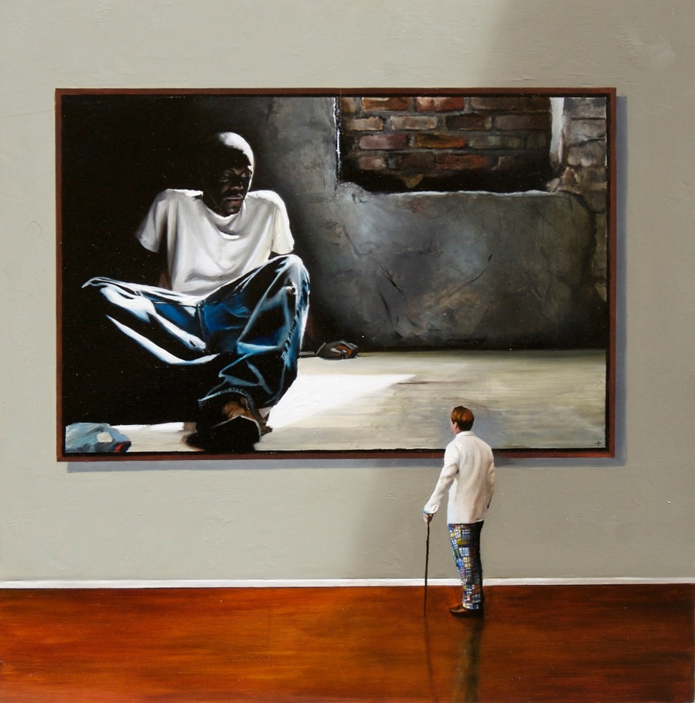 "Studied Indifference 18"" x 18"" oil on panel SOLD"