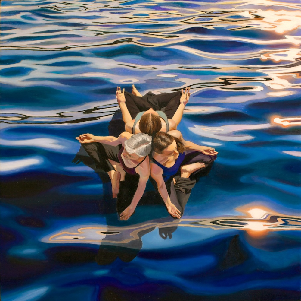 "I Am Floating in a Sea of Energy 16"" x 16"" oil on panel SOLD"