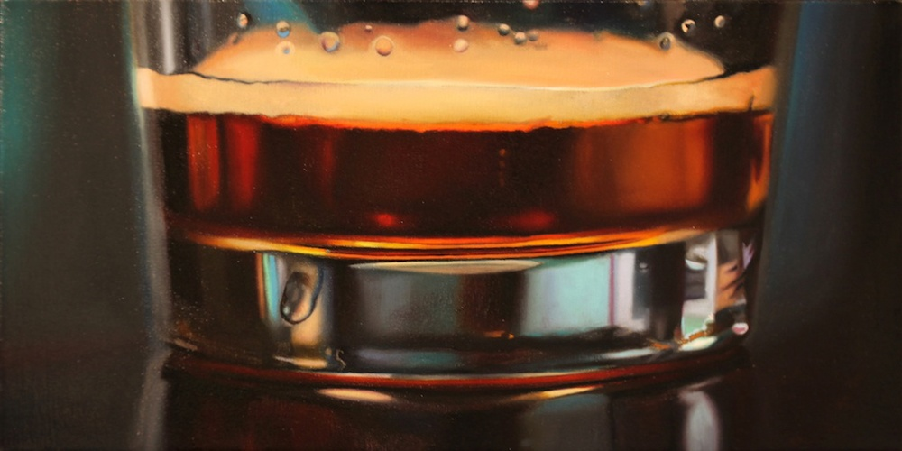 "Til the Very Last Sip 10"" x 20"" oil on panel SOLD"