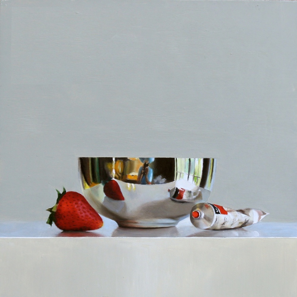 "Two Strawberries, Two Paint Tubes 10"" x 10"" Oil on Panel SOLD"