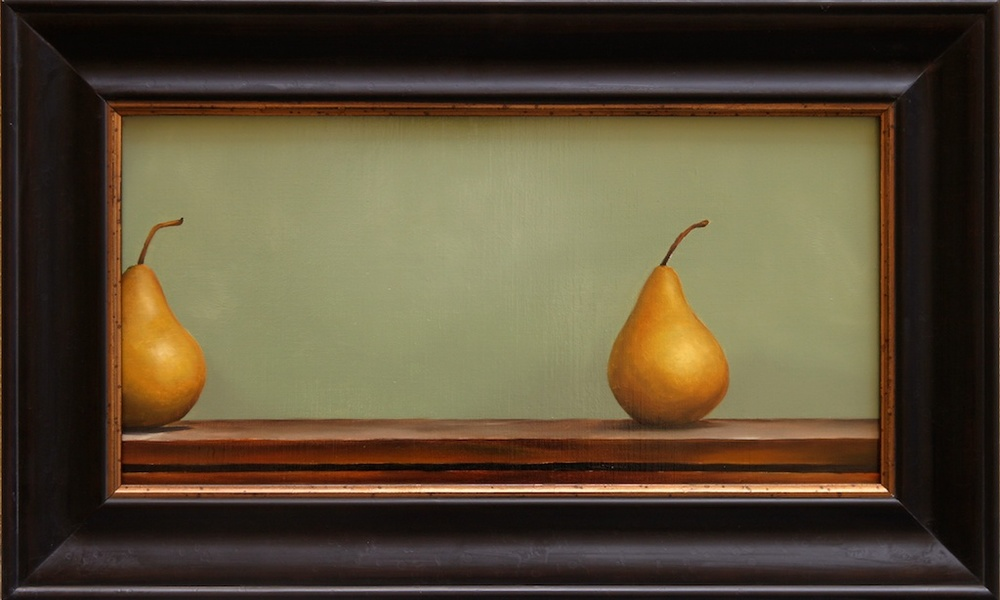 "Nearly Identical, Randomly Placed Pears 10"" x 20"" Oil on Linen SOLD"