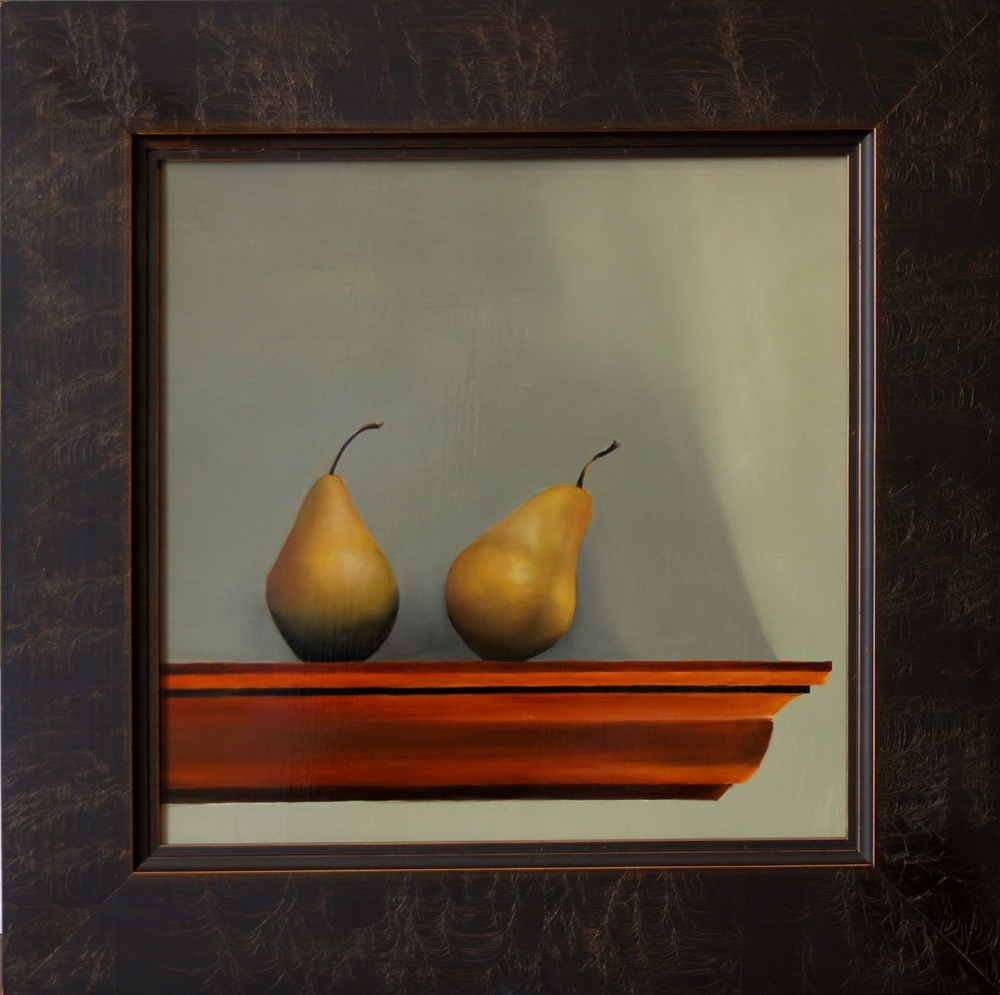 "Nearly Identical Pears 16"" x 16"" Oil on Linen SOLD"