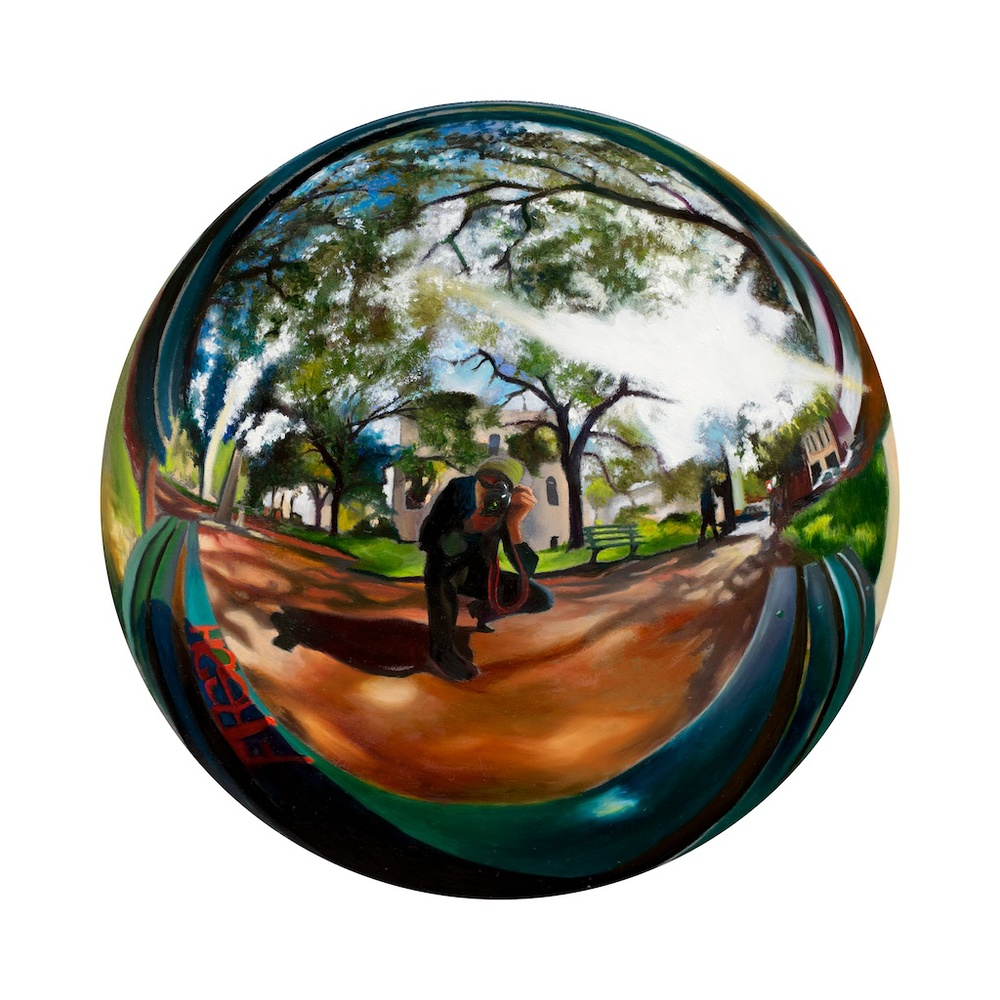 "Observing Natural Rhythms oil on 8"" round panel SOLD"