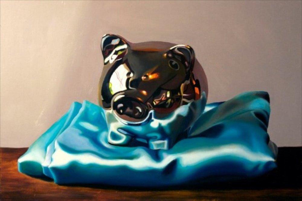 "Blue Steel 14"" x 21"" oil on linen wrapped panel SOLD"