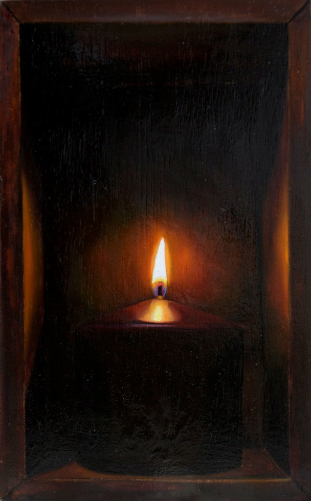 "I Still Burn 5"" x 8"" oil on panel box SOLD"