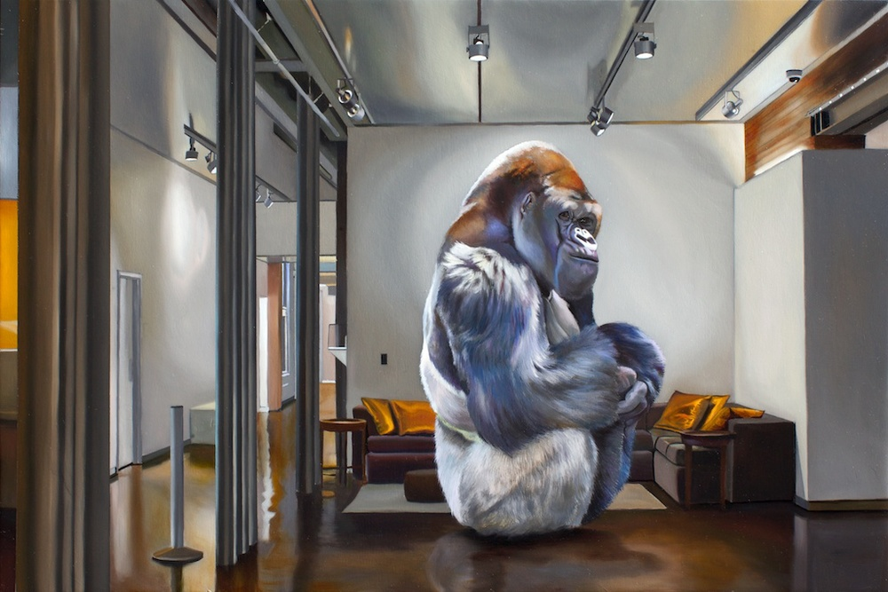 "Guerilla Installation in the Lobby of 21C 16 x 24"" oil on panel"