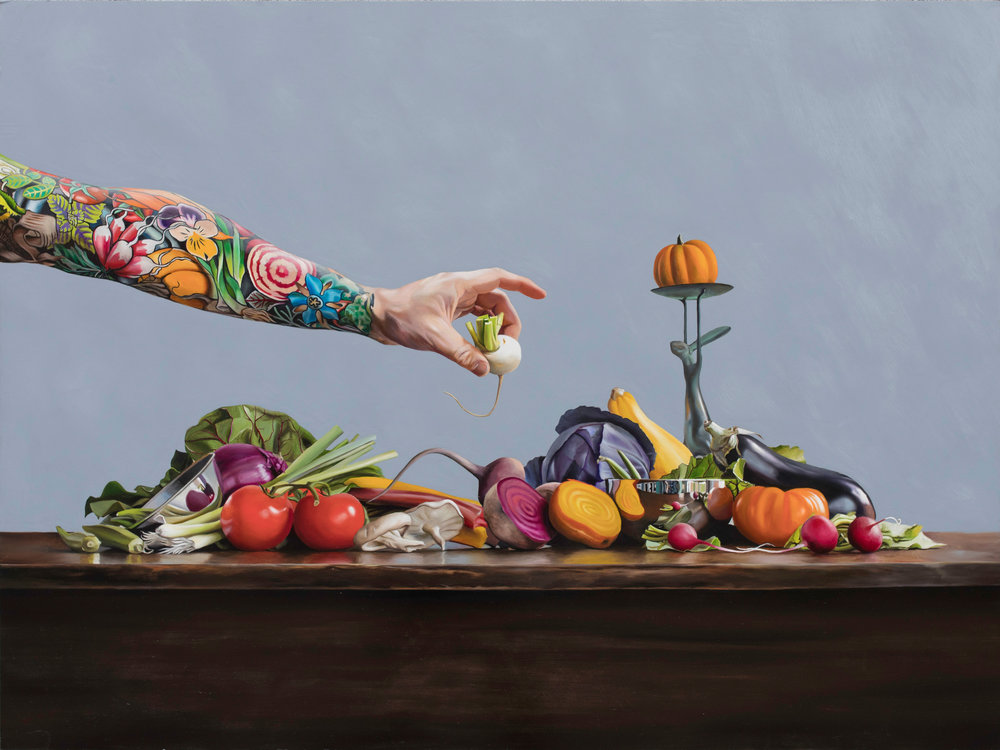 "Arm To Table 24"" x 36"" oil on panel"