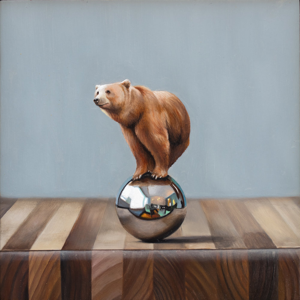 "Balancing Act 8"" x 8"" oil on panel"