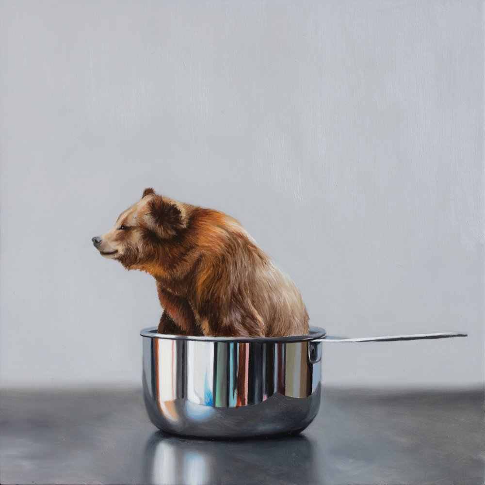 "One Cup of Bear 8"" x 8"" oil on panel"