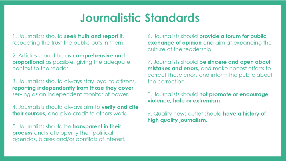 Standards   Good journalistic standards is what separates the reputable and trustworthy media from tabloids.Unfold aims to establish a shared ethical and professional codex as a bench mark for quality journalism.