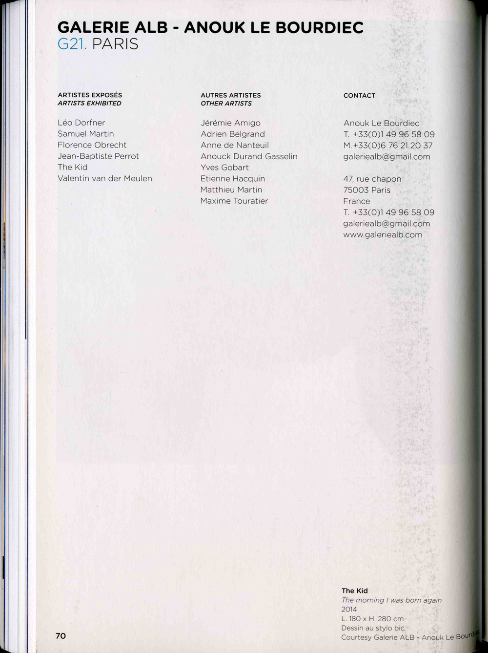 THE KID in ART PARIS 2014 Exhibition Catalogue Worldwide March 2014 page 70.jpg