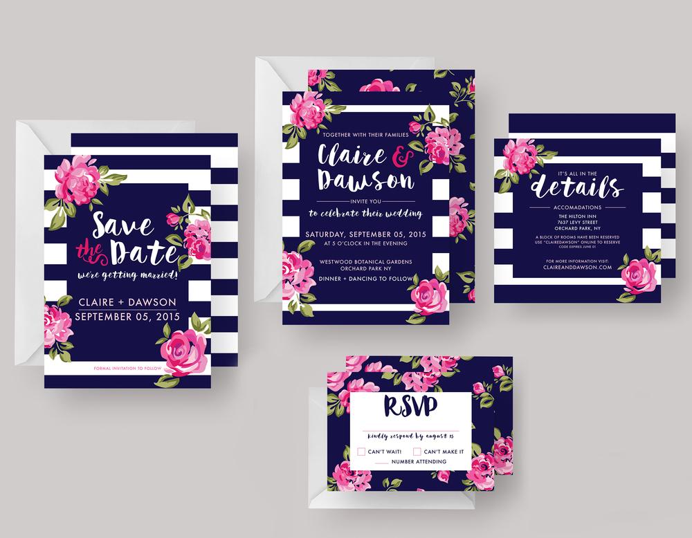 """WEDDING INVITATION SUITE—""""Claire"""" $25.00+"""