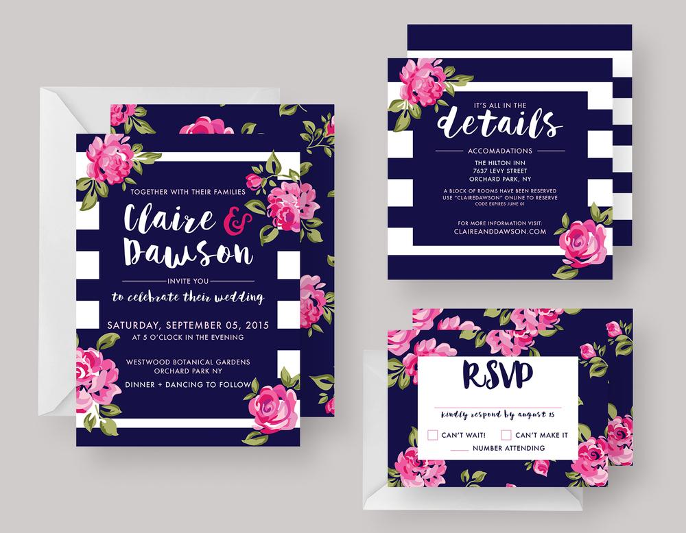 """WEDDING INVITATION—""""Claire"""" $20.00+"""