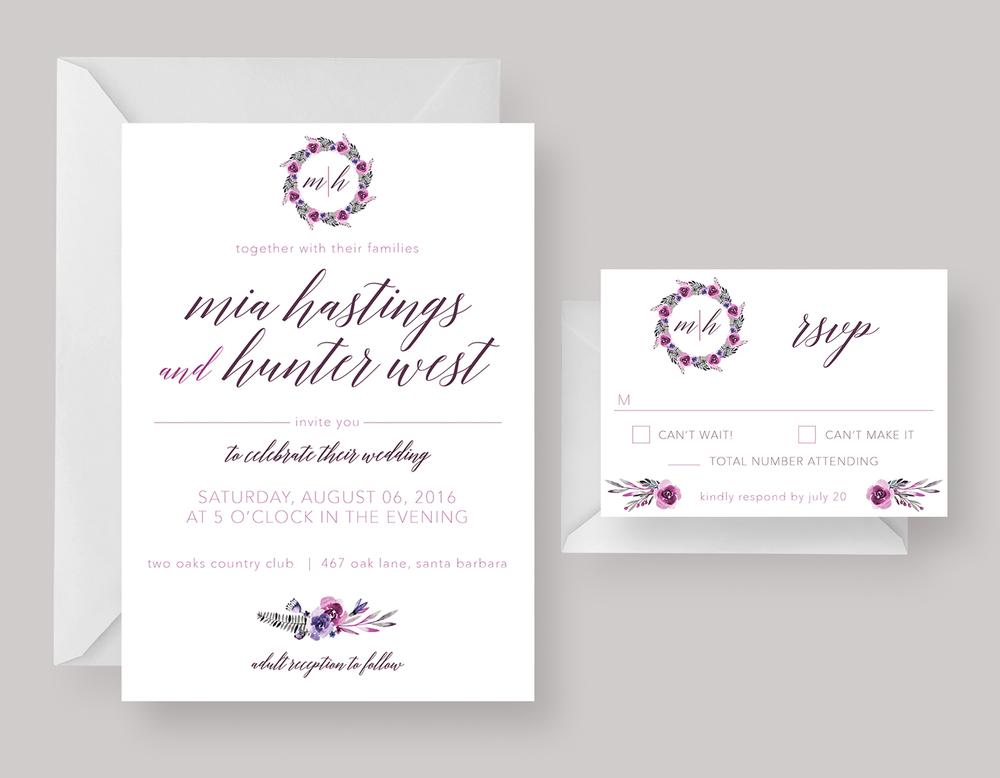 "WEDDING INVITATION—""Mia"" $18.00+"