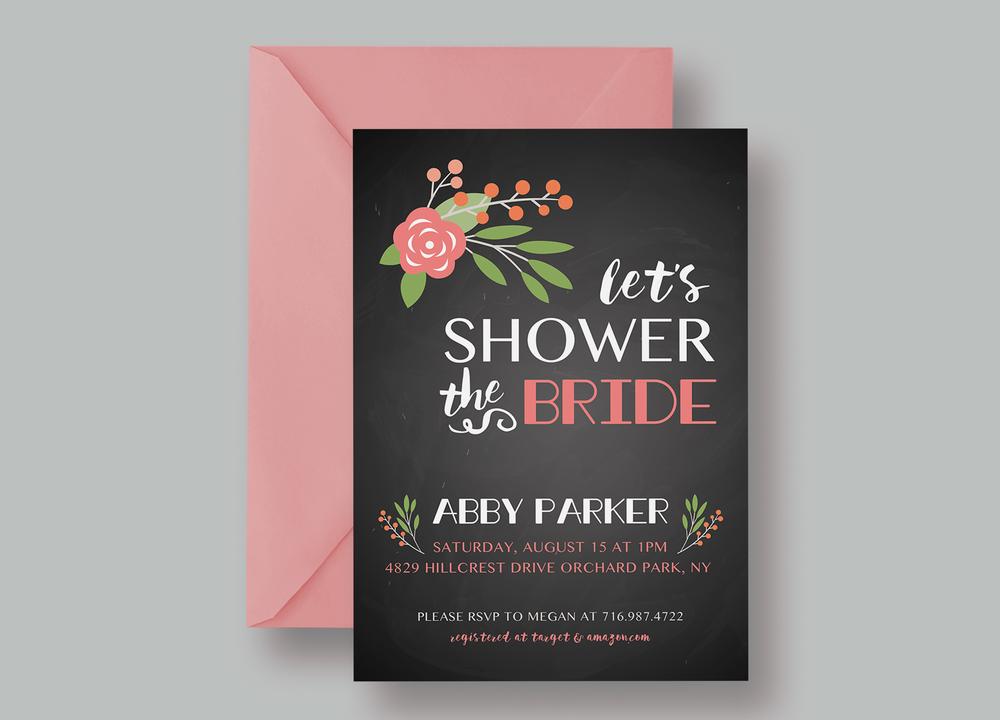 "BRIDAL SHOWER INVITATION—""Abby"" $15.00+"