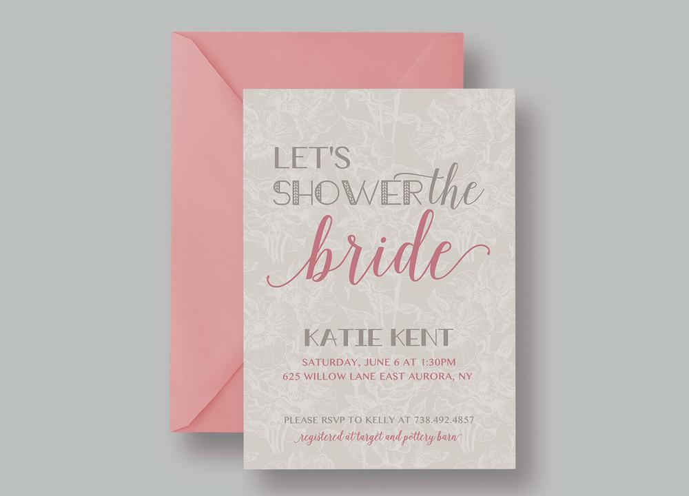 "BRIDAL SHOWER INVITATION—""Katie"" $15.00+"