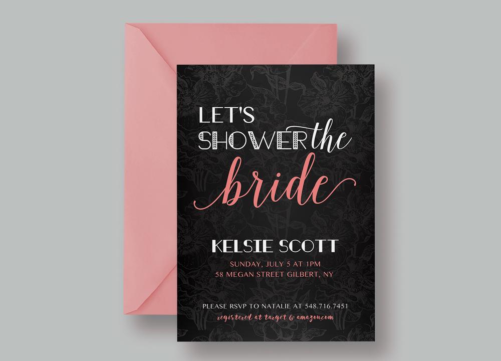 "BRIDAL SHOWER INVITATION—""Kelsie"" $15.00+"