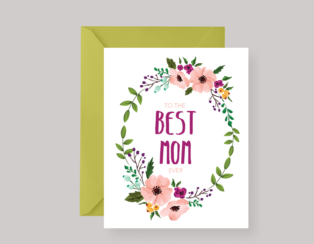 FLORAL WREATH MOTHER'S DAY CARD $4.00+