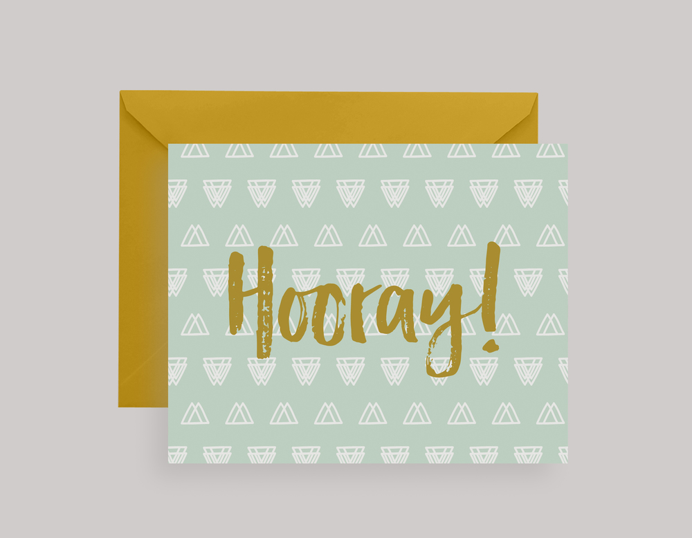 GOLD INK HOORAY CARD $5.50+