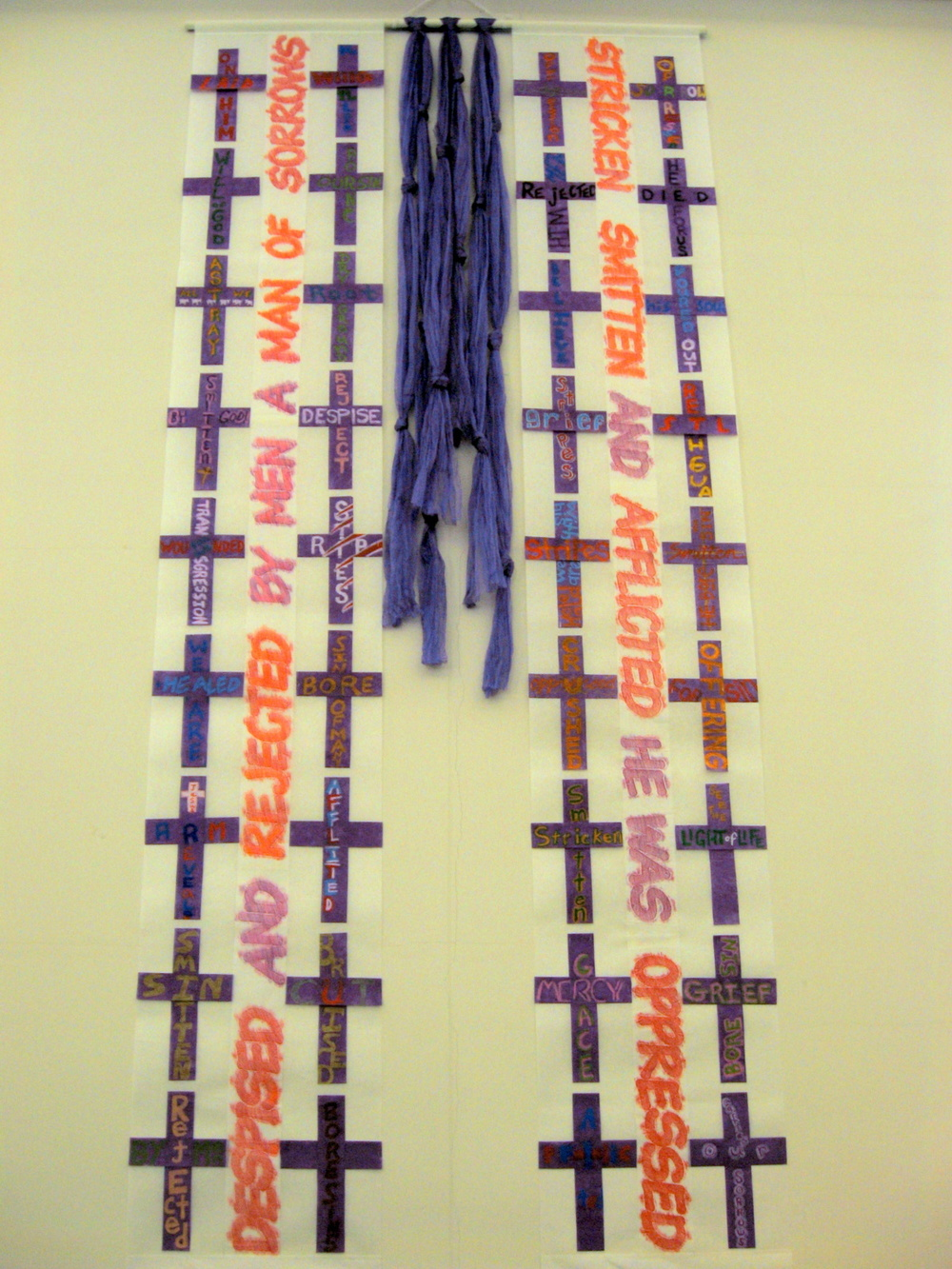 Isaiah 53 Nave Hangings (1 of 2), community-made crosses