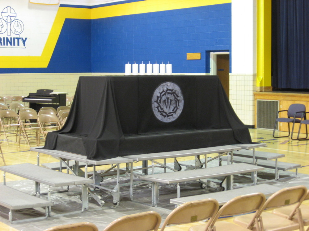 In-the-round Installation, stepped funeral Pall-Altar, in school gym