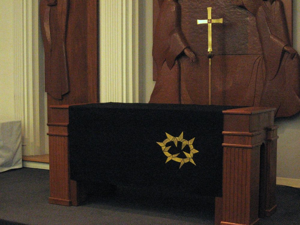 Close-up, Good Friday frontal with processional cross