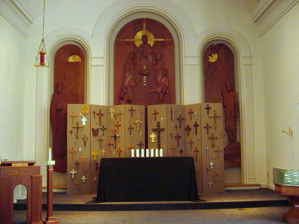 Good Friday Worship Installation, including community devotional crosses