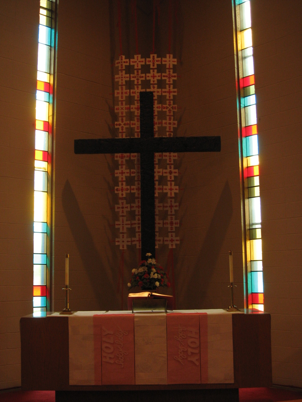Trinity Sunday Chancel, with community-cross panel and pieced White frontals