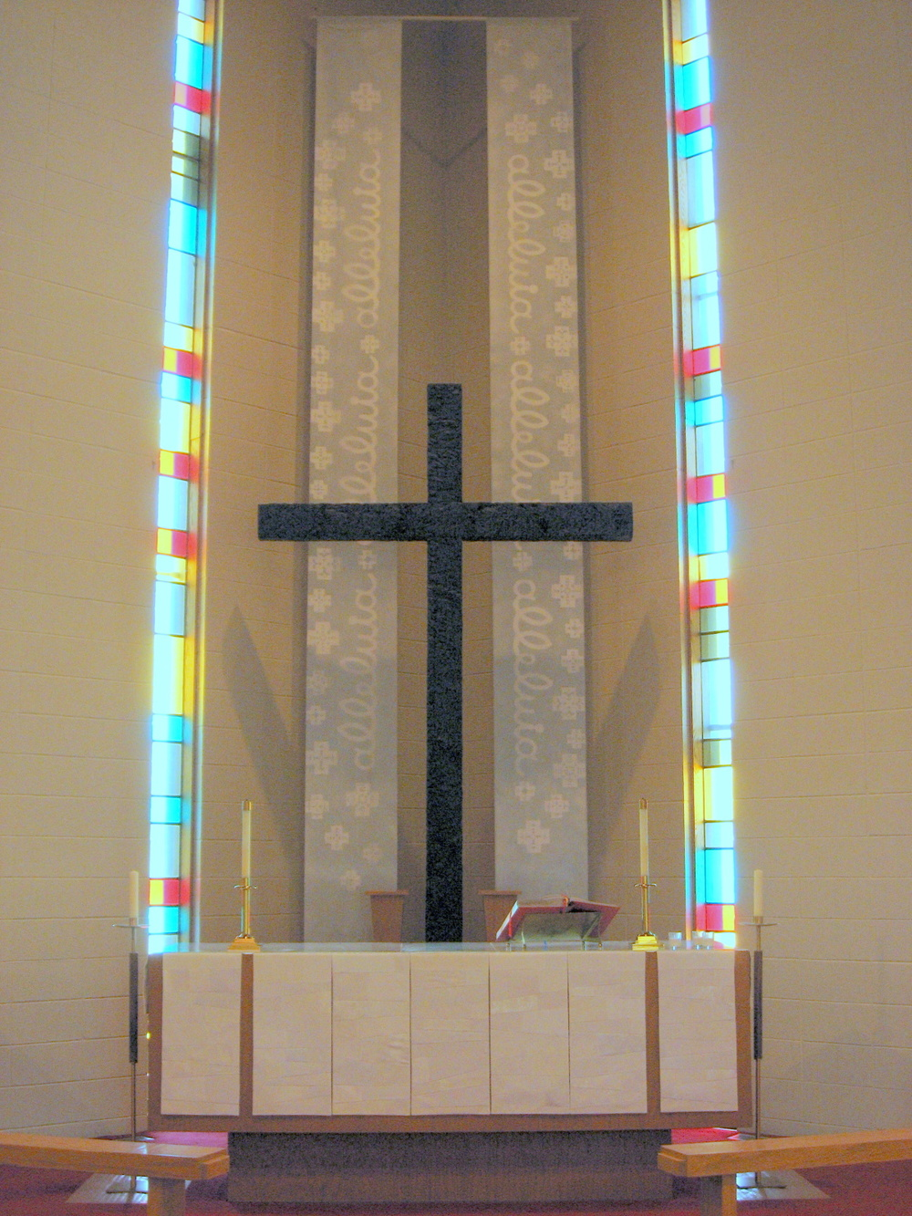Chancel Installation, Easter, Alleluia hangings with 7 community-made Altar frontal-panels