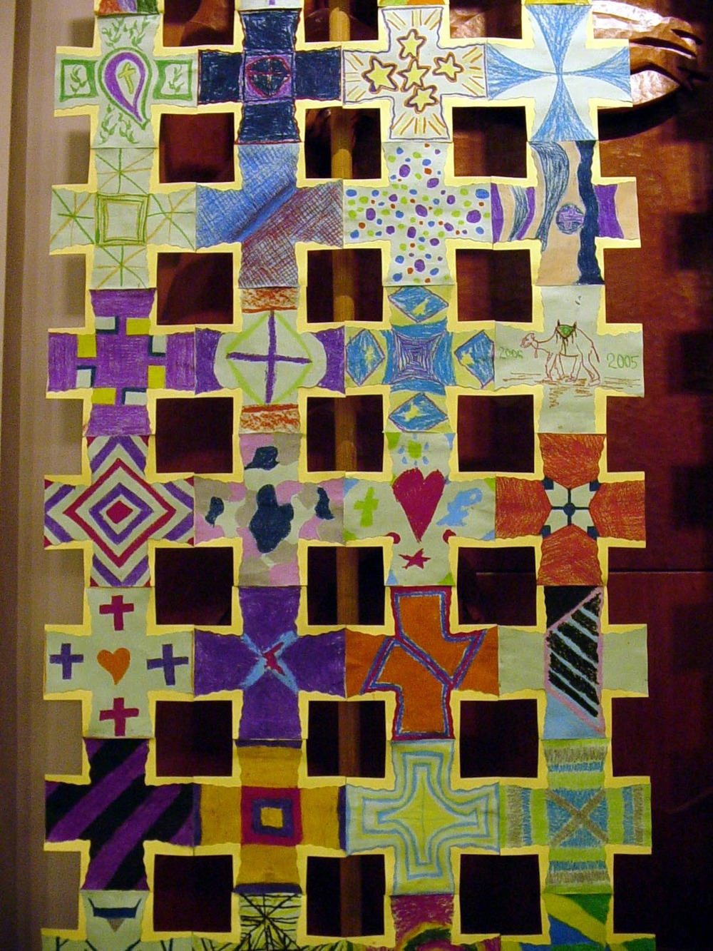 Detail, community-made Greek Crosses