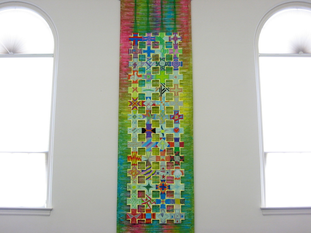 Nave Hanging (1 of 2), Crosses of Discipleship over hand-dyed cloth