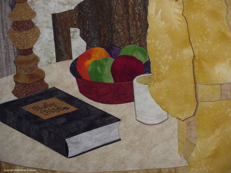 Detail, tabletop, Psalm 23, Cloth Art, Harwood Place
