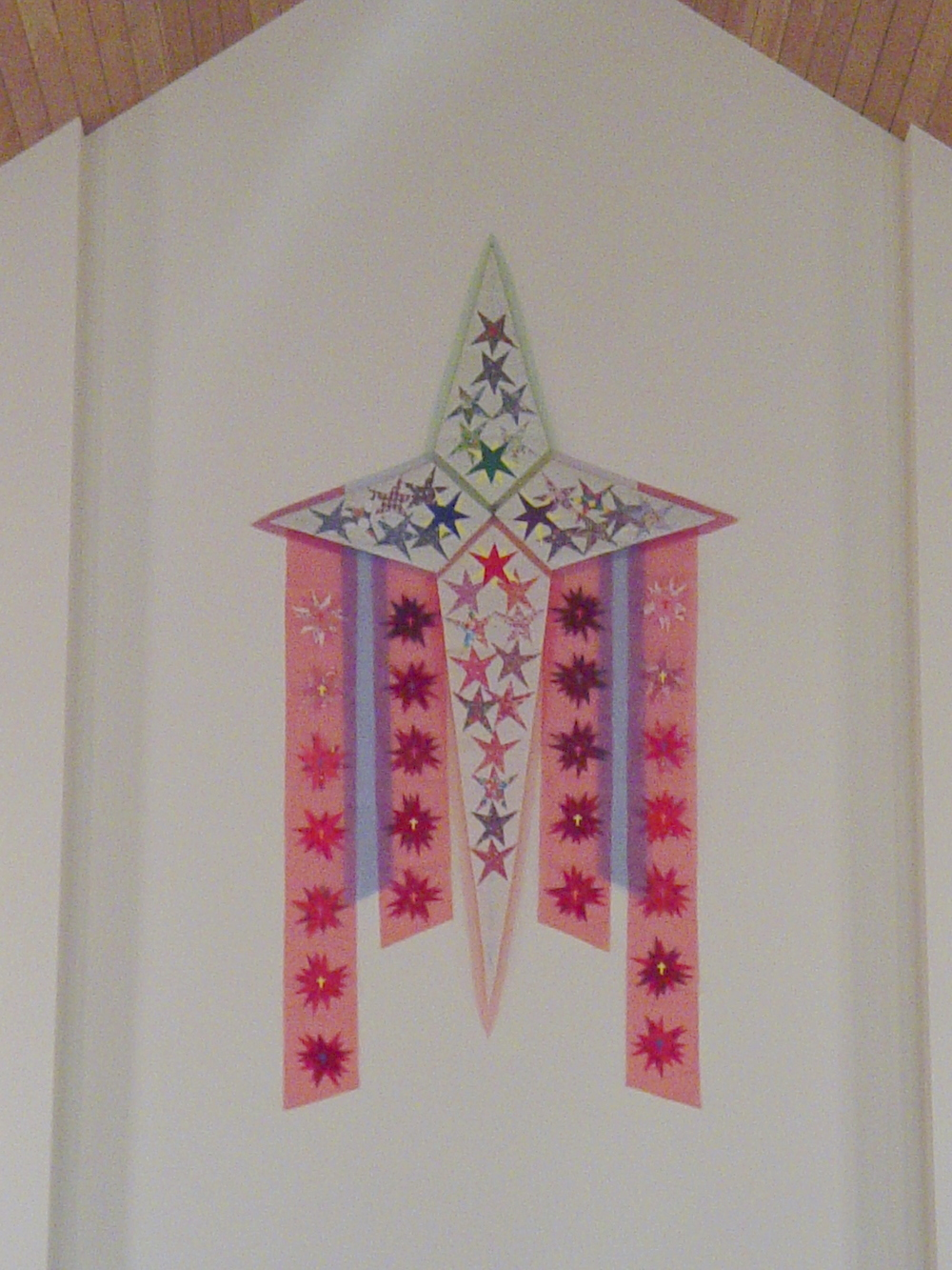 Star-Cross with inset community-stars, 9 ft.
