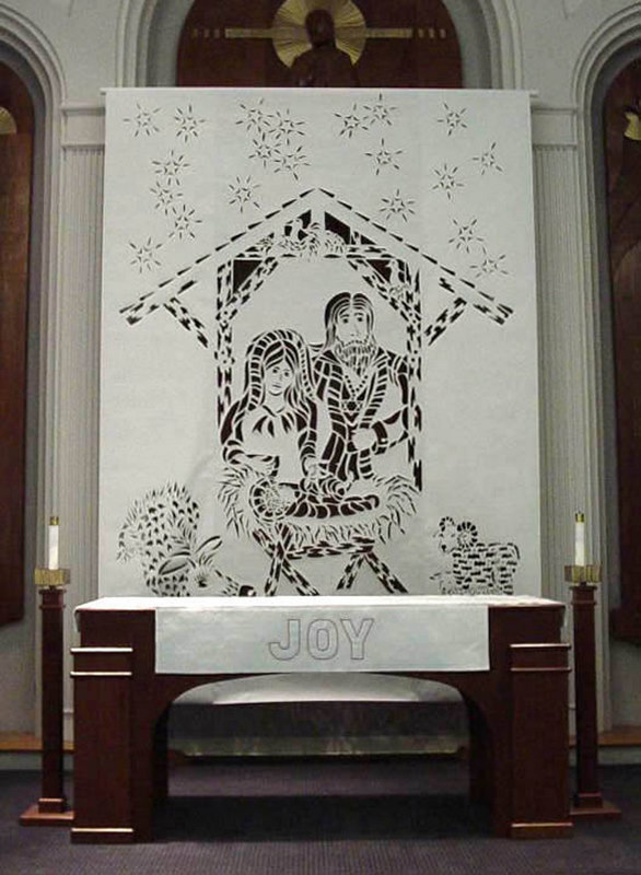 Nativity cut paper design, 9' x 12'
