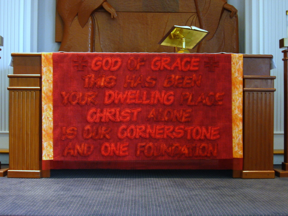 'God of Grace' Altar frontal, text over cloth, Reformation