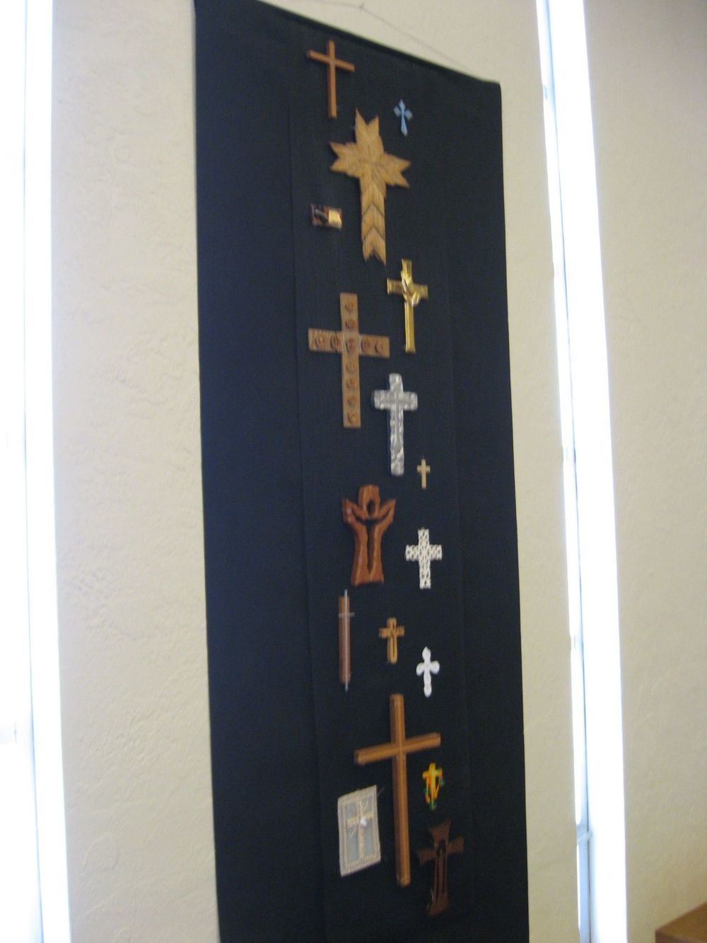 Community devotional crosses, gallery wall