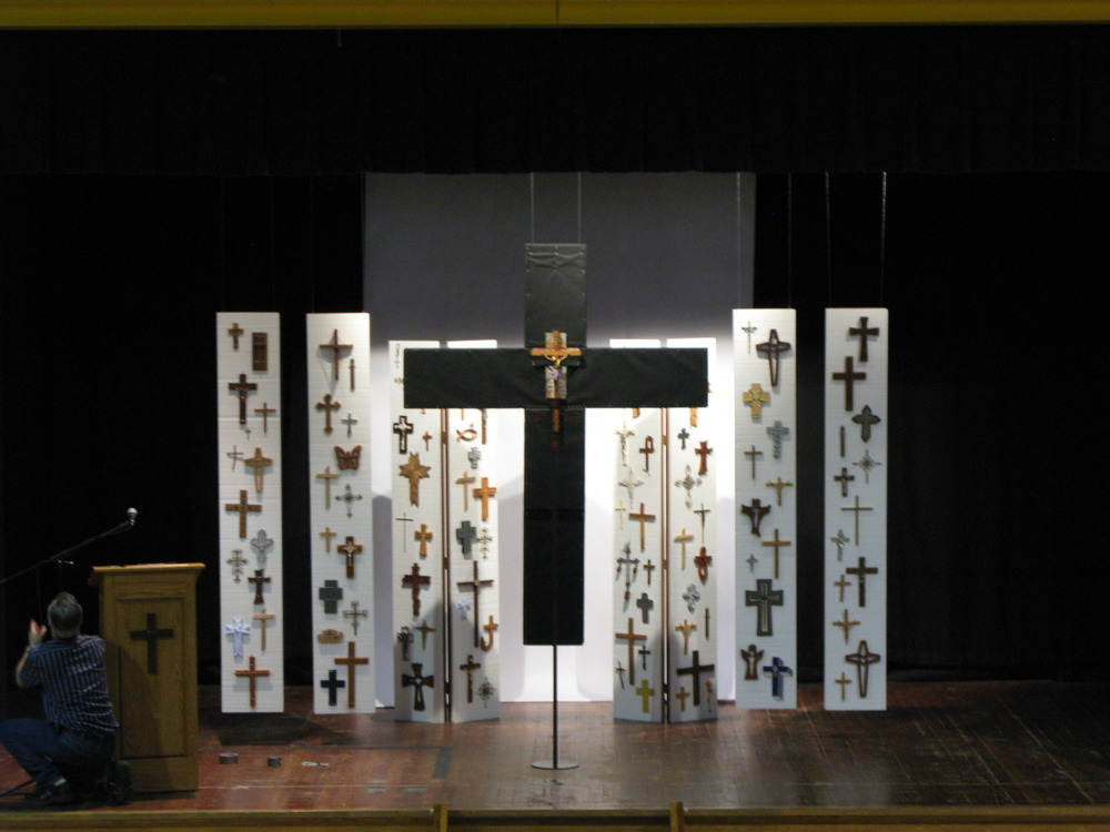 Good Friday Worship Installation, community devotional crosses on Styrofoam panels