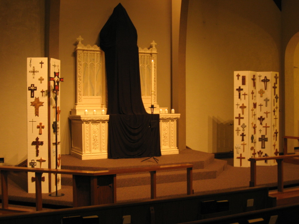 Good Friday Evening Worship, Chancel Installation including community devotional crosses