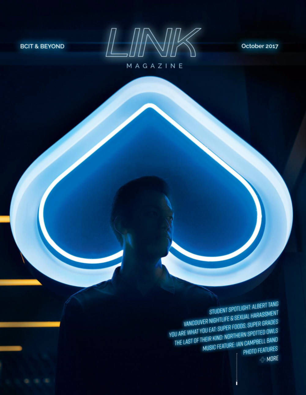 Cover design and photography of LINK's Student Spotlight, Albert Tang