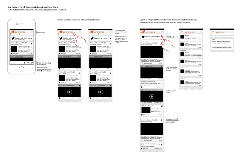 Early wireframes presented to the business unit and launch sponsor helped define the mix of provider and aggregated content. High-level user flow documentation also helped the news organization's editorial department staff curators and community management.