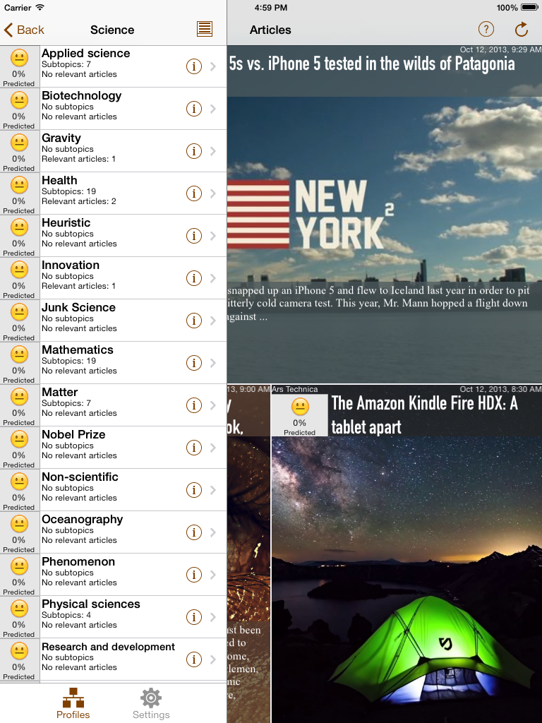 NewsBrain iPad Articles and Topics