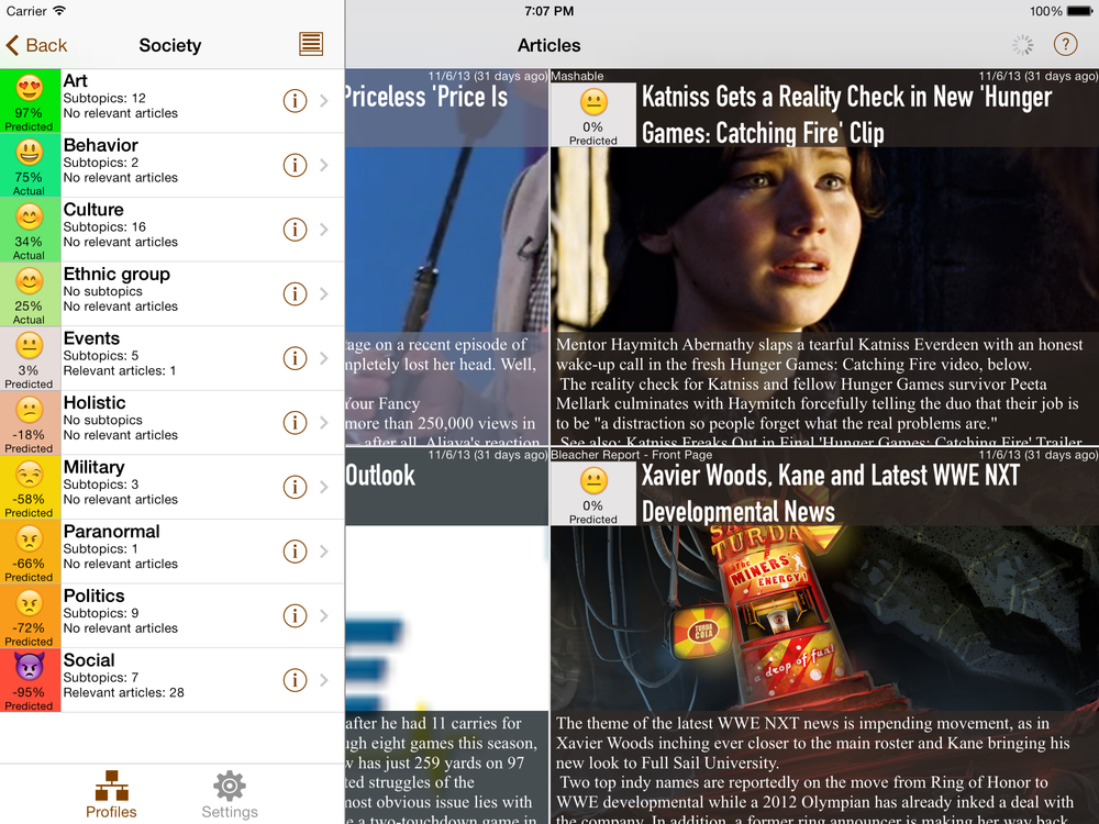 NewsBrain iPad Landscape with Articles and Topics