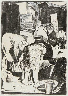 FAYGA OSTROWER  Lavadeiras, 1947  Linóleo sobre papel  34, 5 x 26 cm