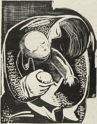 FAYGA OSTROWER  Maternidade, 1950  Linóleo sobre papel  22 x 16 cm